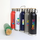 Custom Scenesetter 22oz Double Wall 18/8 Stainless Steel Vacuum Insulated Bottle with Bamboo Cap