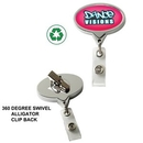 DeVara Custom Chrome Jumbo Oval Badge Reel (Label Only), 2 1/8