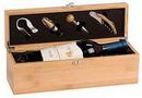 Custom Bamboo Single Wine Box with Tools, 14 1/4