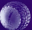 Custom 80 Mm Optical Crystal Golf Ball Award Paperweight, 3