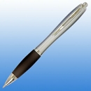 Custom Plastic Curve Pen - Silver with Silver Trim(screened), 5 1/2