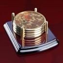 Custom Mayfair Coasters - Set of 4 Rosewood/Gold, 4.0
