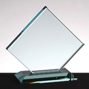 Custom Clipped Square Award w/ Base - Jade Glass (6 3/4