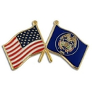 Custom Utah & Usa Crossed Flag Pin, 1 1/8