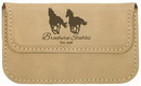 Custom Light Brown Leatherette Soft Business Card Holder, 4 1/2