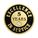 Custom Excellence In Service Pin - 5 Years, 3/4