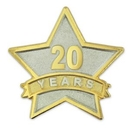 Custom Year Of Service Star Pin - 20 Year, 7/8