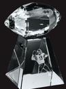 Custom Large Optical Crystal Faceted Football w/ Tall Base Award