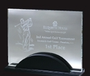 Custom Starfire Glass Artistic Award w/ Wood Base