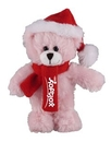Custom Soft Plush Pink Bear with Christmas Scarf and Hat 12