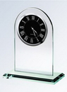 Custom Jade Glass Arch Clock, Silver Black Face, 7 1/4