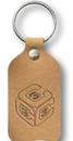 Custom Nubuck Collection Small Rectangular Riveted Key Tag (1 1/2