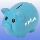 Custom Ceramic Piggy Bank - Blue - Screen Imprinted, 6