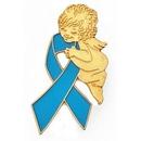 Custom Light Blue Ribbon Angel Pin, 1
