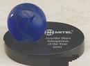 Custom Blue World Glass Globe Award w/ Marble Base (3