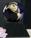 Custom Cobalt Blue Glass World Globe Award w/ Base (3