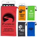Custom Spot Color Microfiber Drawstring Pouch for Cell Phones, Eyeglasses and other Accessories, 3 1/2