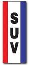 Blank 18 Oz. Reinforced Vinyl 2-Sided Drape w/ 3 Vertical Stripes- SUV, 3' W x 8' H