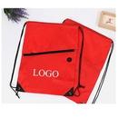 Custom 210D Polyester Drawstring Backpack With Zipper/Headphone Jack, 13