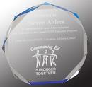 Custom Blue Octagon Acrylic Award, 6 1/2