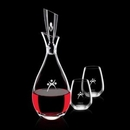 Custom 32 Oz. Juliette Crystalline Decanter W/ 2 Stemless Wine Glasses