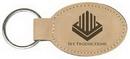 Custom Light Brown Leatherette Oval Keychain, 3