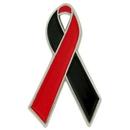 Blank Red And Black Awareness Ribbon Pin, 1