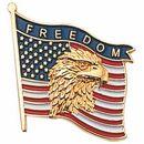 Blank Military Award Lapel Pins (Eagle & American Flag/Freedom), 7/8