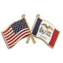 Custom Iowa & Usa Flag Pin, 1 1/8