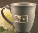 Custom 15 Oz. Carved Ceramic Gray Sugo Mug, 4 1/2