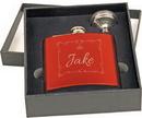 Custom 6 oz. Gloss Red Steel Flask Set in Black Presentation Box, 3 5/8