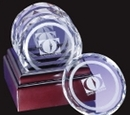 Custom Optical Crystal Deluxe Coaster Set w/ Etched Circle
