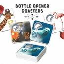 Custom 4 Coaster With Bottle Opener Set, 3.35