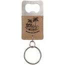 Custom Laserable Leatherette Rectangle Bottle Opener Keychain - Light Brown, 2 3/4