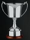 Custom Swatkins British Made Nickel Plated Cup Award w/ Round Wood Base (11.25