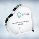 Custom Color Imprinted Heart Keepsake Optical Crystal Award, 5