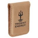 Custom Laserable Leatherette Money Clip - Light Brown, 1 3/4