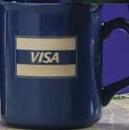 Custom 10 Oz. Blue Flared Lip Ceramic Mug w/ Era Shaped Handle