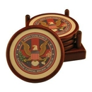 Custom Round Wood 4 Coaster Set With Leather Inlay And 4-Color Process, 4