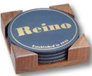 Custom Round Leather Rubber Back Coaster Set of 4 w/ Cherry or Walnut Wood Stand