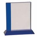 Custom Blue Edge Crystal Award with Base (SMALL) - SANDBLASTED