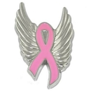 Custom Breast Cancer Ribbon With Wings Pin, 1 1/8