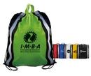 Custom Non-Woven Reflective Drawstring Backpack w/ Stripes - Spot Printed