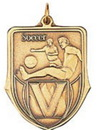 Custom 100 Series Stock Medal (Male Soccer Player) Gold, Silver, Bronze