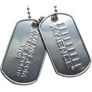 Custom Amcraft - Embossed Stainless Steel or Aluminum Military Dog Tag with Rolled Edge, 2
