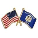 Custom Wisconsin & Usa Crossed Flag Pin, 1 1/8