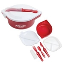 Custom Round Lunch Container W/Utensil Set - Red, 9 1/2