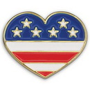 Custom Heart With Flag - Die Struck Patriotic Lapel Pin