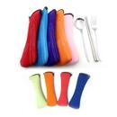 Custom 3 Piece Stainless Steel (Chopsticks, Fork & Spoon) Cutlery Set w/Neoprene Case, 9