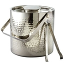 Custom Elegance Stainless Steel Collection 3 Quart Hammered Ice Bucket W/ Tongs